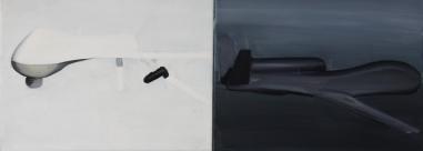 Euro Hawk Schwarz/Weiß 2013 Öl/Nessel 2x 30cm x 40cm