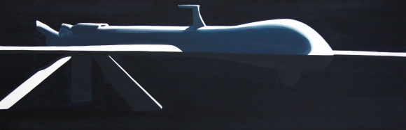 Drohne black 2013 Öl/Nessel 50cm x 150cm