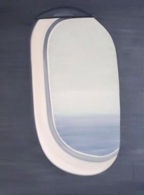 Flugzeugfenster 2013 Öl/Nessel 100cm x 70cm