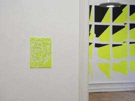 Gesichtserkennung neongelb 2015 Lack/Glas 40cm x 30cm