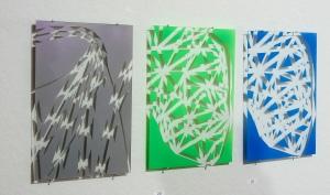 Gesichtserkennung neon grün 2015 Lack/Glas DinA4