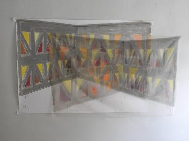 Formstein Dreieck 2017 Öl/Papier/Gase 100cm x 200cm