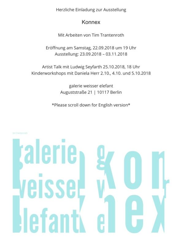 Einladung: Ausstellungseröffnung Konnex mit Tim Trantenroth| Sa, 22.09.18 um 19 Uhr